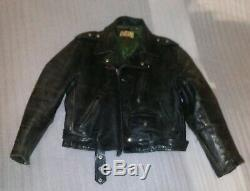 Vintage 1950's Guide Master Horse Hide Leather Motorcycle Jacket Wolf Outerwear