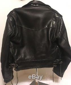 Vintage 1950's Men Horse Leather Motorcycle Jacket Vintage Biker Rocker black