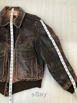 Vintage 1950s BOMBER Horse Hide JACKET Guide Master WOLF size Small