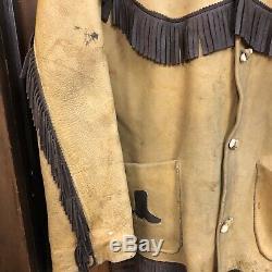 Vintage 1950s Frontier Western Cowboy Fringe Horse Rockabilly Leather Jacket-l