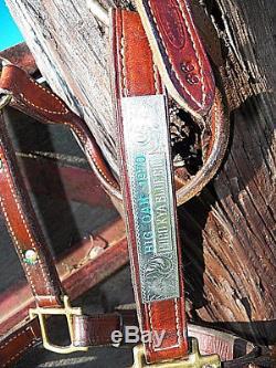 Vintage 1970 MacPherson Tack LA Sterling Silver Horse Show Trophy Leather Halter
