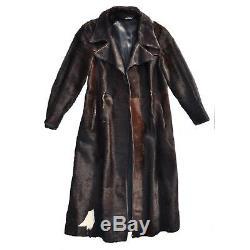 Vintage 1970s Horse Pony Calf Cow Hair Hide Genuine Leather Long Coat Jacket M