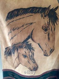 Vintage 1970s Van Dyck Leather Horse Head Poncho Made in Mexico Equestrian