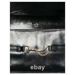 Vintage 1970s signed black horse bit GUCCI leather shoulder bag purse