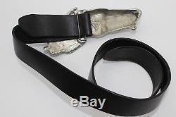 Vintage 1976 Christopher Ross Pewter Horse Buckle Black Leather Adjustable Belt