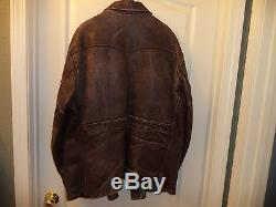 Vintage 40's Genuine Front Quarter Horse Hide Half-Belt Large Size Men's Jacket