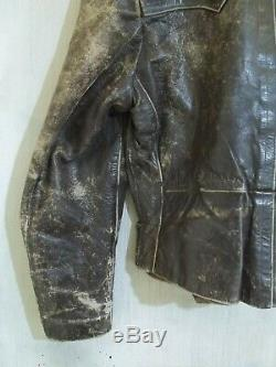 Vintage 40's Ww2 German Distressed Horse Leather Flying Cyclist Jacket Size L