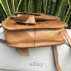 Vintage 70s 80s Brown Tooled Leather Handbag Purse Satchel Horse Saddle Bag