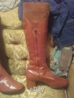 Vintage 70s & 80s The Villager Italian Leather Knee High Boots Shoes Rare Retro