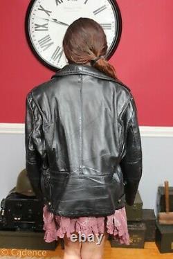 Vintage 80's Black Leather Police Motorcycle Jacket Horse Hide Tailor Made J184