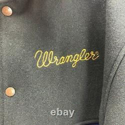 Vintage 80s Wrangler Jacket Size Large Color Block Wool Spell Out Embroidery