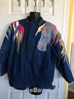 Vintage AUGUSTINA TAOS NM Horse Head Flowing Manes Denim/Leather Jacket Size Med