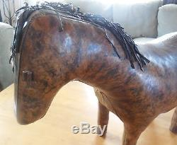 Vintage Abercrombie and Fitch Dimitri Omersa Leather Horse Mid Century Ottoman