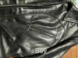 Vintage Aero leather Company Scotland Biker jacket 46 alpaca wool horse hide