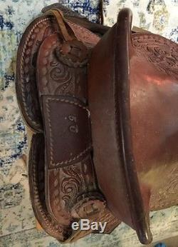Vintage American Saddlery Little Britches 12 leather tooled western HORSE Nice