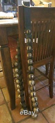 Vintage Antique Draft Horse Sleigh Bells 29 Brass Bells 86 Long Leather Strap