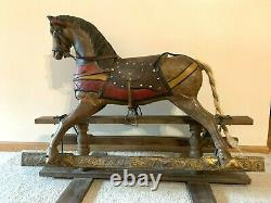 Vintage Antique Glider Rocking Horse Carved Wood with Leather Saddle and bridle