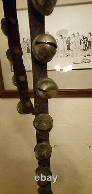 Vintage Antique Horse Sleigh Bells 58 Leather Strap 21 Jingle Bells Original