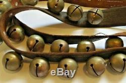 Vintage Antique Horse Sleigh Bells 77 Leather Strap 30 1.5 Bells Original
