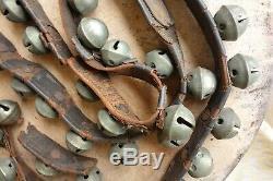 Vintage Antique Horse Sleigh Bells With Leather Strap 46 Bells Brass Original