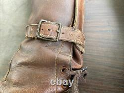 Vintage Antique Leather Tall Military 3 Three Buckle Boots Tank Cavalry 40s Sz 9