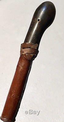 Vintage Antique Leather Wrapped Horse Riding Crop Whip WithStilleto Horn Handle