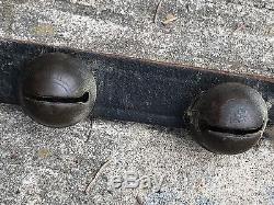 Vintage Antique Primitive Sleigh 31 Bell String Leather Strap 80 Horse Tack