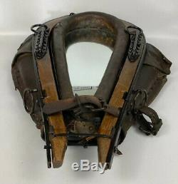 Vintage Antique Western Horse Collar Mirror With Leather, Black Iron 25.5