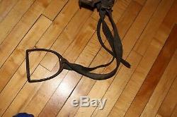 Vintage Antique Wood & LEATHER Horse Military Saddle Tooled Prop Decor