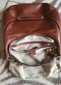 Vintage Authentic GUCCI Leather Bamboo Horse bit Shoulder Hobo Bag Caramel Brown
