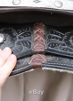 Vintage Authentic Western Tooled Black Leather Horse Saddle, NR