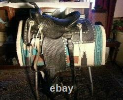 Vintage BIG HORN Western Parade Horse SADDLE SQH Bars Tapaderos 15 seat