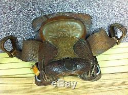 Vintage Big Horn Horse Saddle Tooled Leather Stitched seat