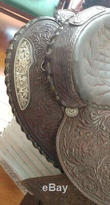 Vintage Billy Royal Leather Sterling Silver Western Horse Show Saddle 14 1/2