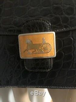Vintage Black Croc Embossed Horse and Carriage Celine bag needs TLC