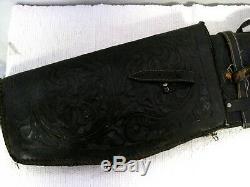 Vintage Black Hand Tooled Leather Horse Saddle 2 Piece Gun Case Scabbard
