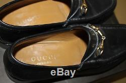 Vintage Black Leather Gucci Loafers with Gold Horse Bit EXCELLENT Condition
