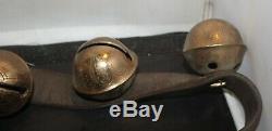 Vintage Brass Sleigh Horse Bells 17 Graduated Bells on 84 Leather Strap