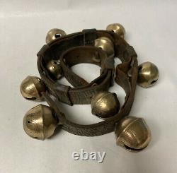 Vintage Brass Sleigh Horse Bells 9 Etched Brass Bells 30 Leather Strap X-MAS