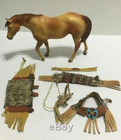 Vintage Breyer Horse Indian Pony #175 RARE Custom Beaded Leather Costume 1970s