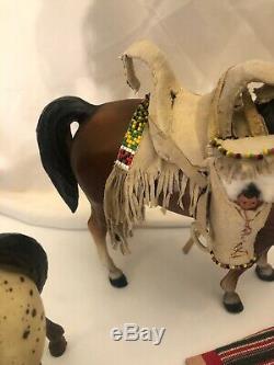 Vintage Breyer Horse RARE Custom Native American Beaded Leather High Quality Set