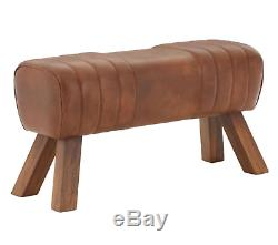 Vintage Brown Leather Pommel Horse Style Bench/Footstool