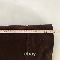 Vintage Brown Suede Leather Jacket Fringe Western Wear Coat 1970s EVC Large