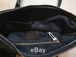Vintage Burberry Black Leather Metal Logo Horse Bag Satchel Tote Shoulder bag