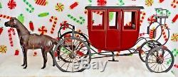 Vintage Byers 2001 Choice Coach & Leather Horse Set/Christmas Stagecoach RARE