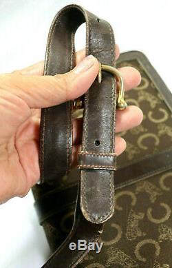 Vintage CELINE Brown Canvas Leather Horse Carriege Logo Box Shoulder Bag