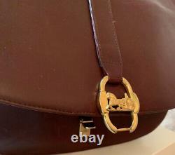 Vintage CELINE Horse Carriage Burgundy Red Leather Shoulder Bag