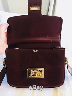 Vintage CÉLINE Horse and Carriage Classic Whiskey Tan Leather Box Bag Medium