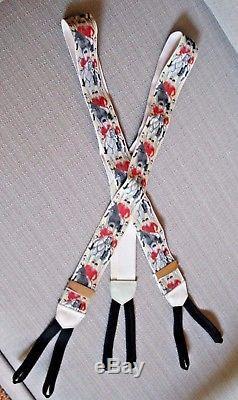 Vintage Calvin Curtis Cravateur Fox Hunting Braces Suspenders Horses Near Mint