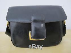 Vintage Celine Black Leather Classic Box Horse Carriage Buckle Shoulder Bag